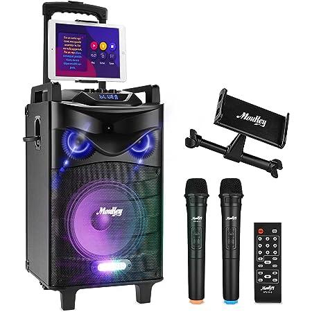"""Bluetooth Sonorisation Portable Moukey Karaoké Speaker Haut-parleurs 160W Enceinte Sono PA système avec lumières DJ double VHF Micros Support Tablette Radio MP3/USB/TF/FM pour la fête de Noël 10"""""""