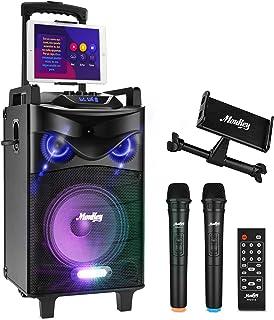 Bluetooth Sonorisation Portable Moukey Karaoké Speaker Haut-parleurs 160W Enceinte Sono PA système avec lumières DJ double...