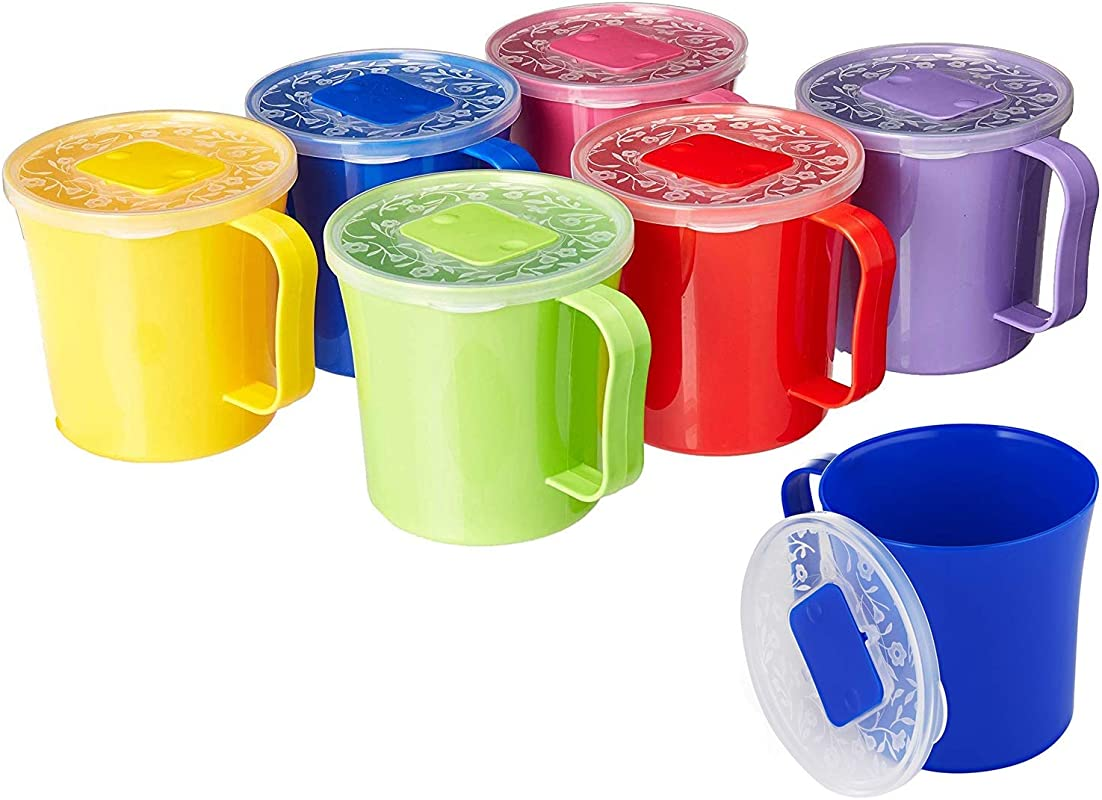 Zilpoo 6 Pack Soup Mug With Vented Lid And Handle 20 Ounce Plastic Microwaveable Oatmeal Cereal Cup With Cover Microwave Safe Lidded Bowl