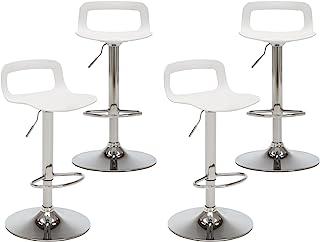 NOBPEINT Contemporary Chrome Air Lift Adjustable Swivel Bar Stool, Set of 4, White