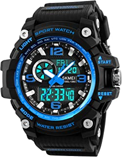 Dayllon Mens Analog Digital LED 50M Waterproof Outdoor Sport Watch Military Multifunction Casual Dual Display 12H/24H Stopwatch Calendar Wrist Watch