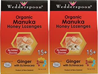 Wedderspoon Organic Manuka Honey Lozenges with Ginger and Echinacea, 4 Ounce (2 Pack)