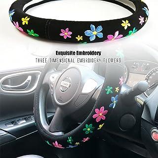 غطاء عجلة قيادة السيارة مطرز لطيف للبنات والفتيات، الفانيلا القصيرة، العالمي 15 بوصة (زهرة - لون رائع)