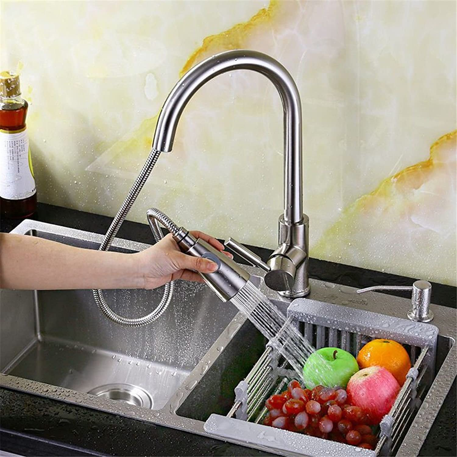 Commercial Single Lever Pull Down Kitchen Sink Faucet Brass Constructed Polished ?Pull-Out Faucet Hot and Cold Kitchen Sink Full Copper Telescopic Basin redating Sink Retro Sink Faucet