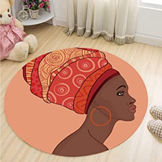MOOCOM African Woman Comfortable Round Mat,Exotic Young Native Girl with Traditional Turban Folk Art Decorative for Indoor,39''R