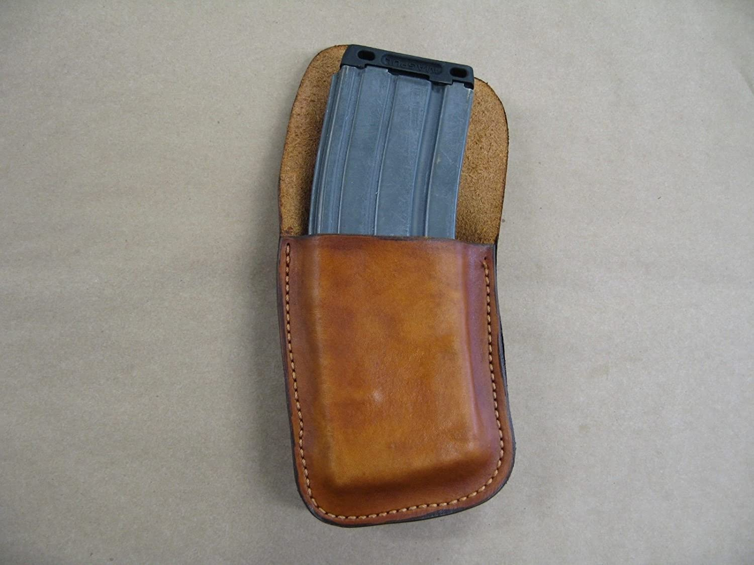 C Products Defense AR15 Leather Clip On OWB Belt Magazine Mag Pouch AR15  TAN USA
