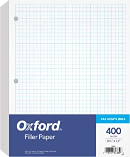 "Oxford Filler Paper, 8-1/2"" x 11"", 4 x 4 Graph Rule, 3-Hole Punched, Loose-Leaf Paper for 3-Ring Binders, 400 Sheets Per Pack (62360)"