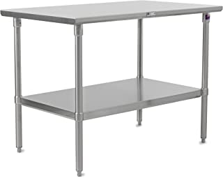 John Boos Stallion ST6-3036SSK Stainless Steel Flat Top Work Table with Adjustable Stainless Steel Lower Shelf and Legs, 36