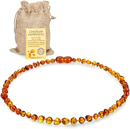 JOULLI Raw Baltic Amber Teething Necklace For Babies, Drooling & Teething Pain Reduce Properties 33CM Assorted Color