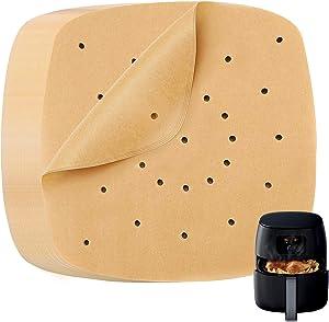 Heavy Duty Air Fryer Liners, 8.5 inch Air Fryer Parchment Paper, Unbleached Katbite Perforated Parchment Paper, Square Air Fryer Paper Liners for Streamer, Oven, Air Fryer, Non-Stick, Pre-Cut, 120Pcs