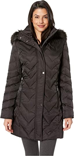 Chevron Multi Quilt 3/4 Down Jacket w/ Faux Fur Hood