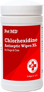 Pet MD Chlorhexidine Wipes XL with Aloe for Dogs and Cats - Antiseptic and Antifungal Wipes for Skin Infections, Hotspots,...