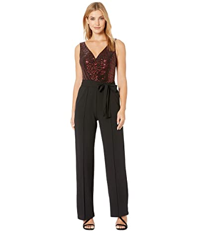 Donna Morgan Metallic Stretch Top with Ruched Detail and Tie Jumpsuit (Black) Women