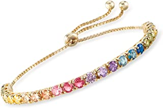 Ross-Simons 5.52 ct. t.w. Multicolored CZ Bolo Bracelet in 18kt Gold Over Sterling