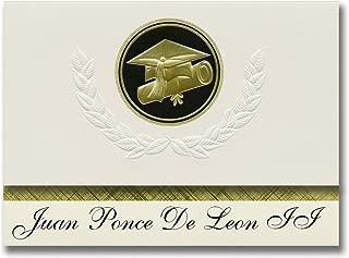 Signature Announcements Juan Ponce De Leon II (Florida, PR) Graduation Announcements, Presidential style, Elite package of 25 Cap & Diploma Seal Black & Gold