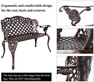HOMEFUN Aluminum Outdoor Bench, Garden Benches Patio Front Porch Loveseat Furniture, Rose Carving Antique Bronze