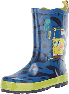 Kidorable SpongeBob SquarePants Blue Natural Rubber Rain Boots w/Pull On Heel Tab