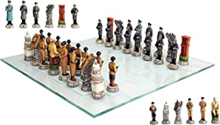 Atlantic Collectibles World War Two Allied United States VS Axis Germany Resin Chess Pieces With Fine Glass Board Set