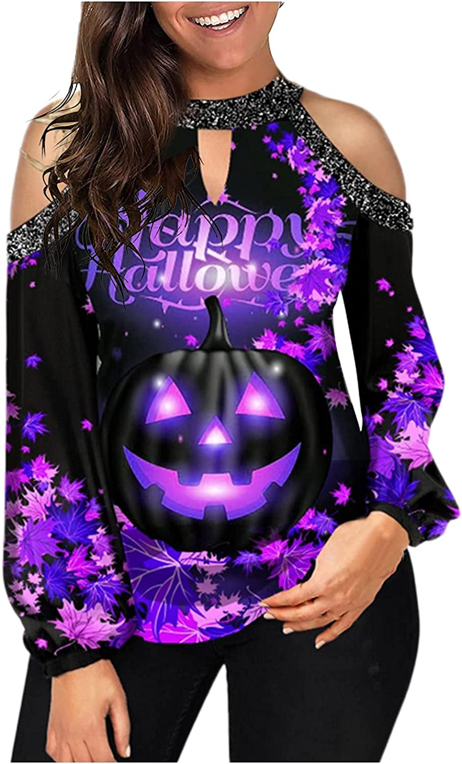 Smooto Women Long Sleeve Shirt Print Color B Super beauty product restock quality top Special price for a limited time Halloween Patchwork