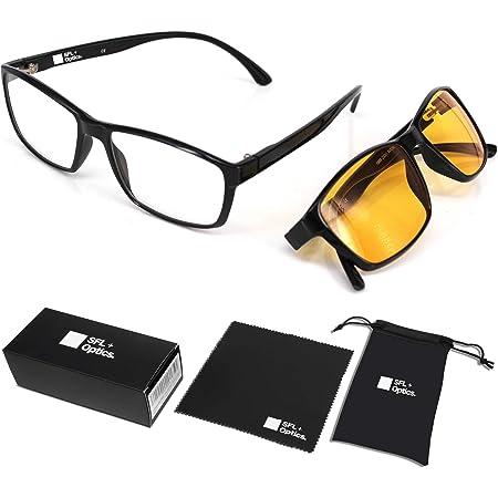 SFL + Optics. Lot de 2 lunette anti lumiere bleue Protection 85% et 92% Lunettes Jeux Vidéo Lunettes Gaming PC Mobile TV Haute Protection pour Ecrans Anti Fatigue Anti UV Pour Femmes et Hommes
