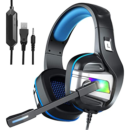YJY Gaming Headset for PS4 PC Xbox One Over Ear Headphones with Mic LED Light Bass Surround Controller Noise Cancelling Soft Memory Earmuffs for Laptop Mac Nintendo Switch Games (Large)