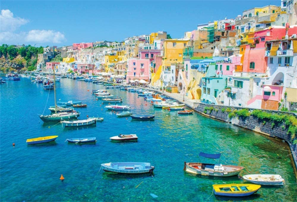 AOFOTO 9x6ft Summer Naples Cheap bargain Cheap SALE Start Backdrop House Colorful Town Italy Se