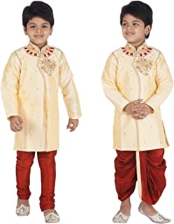 Ahhaaaa Kids Indian Ethnic Bollywood Style Kurta, Pyjama and Dhoti Pant Set for Boys
