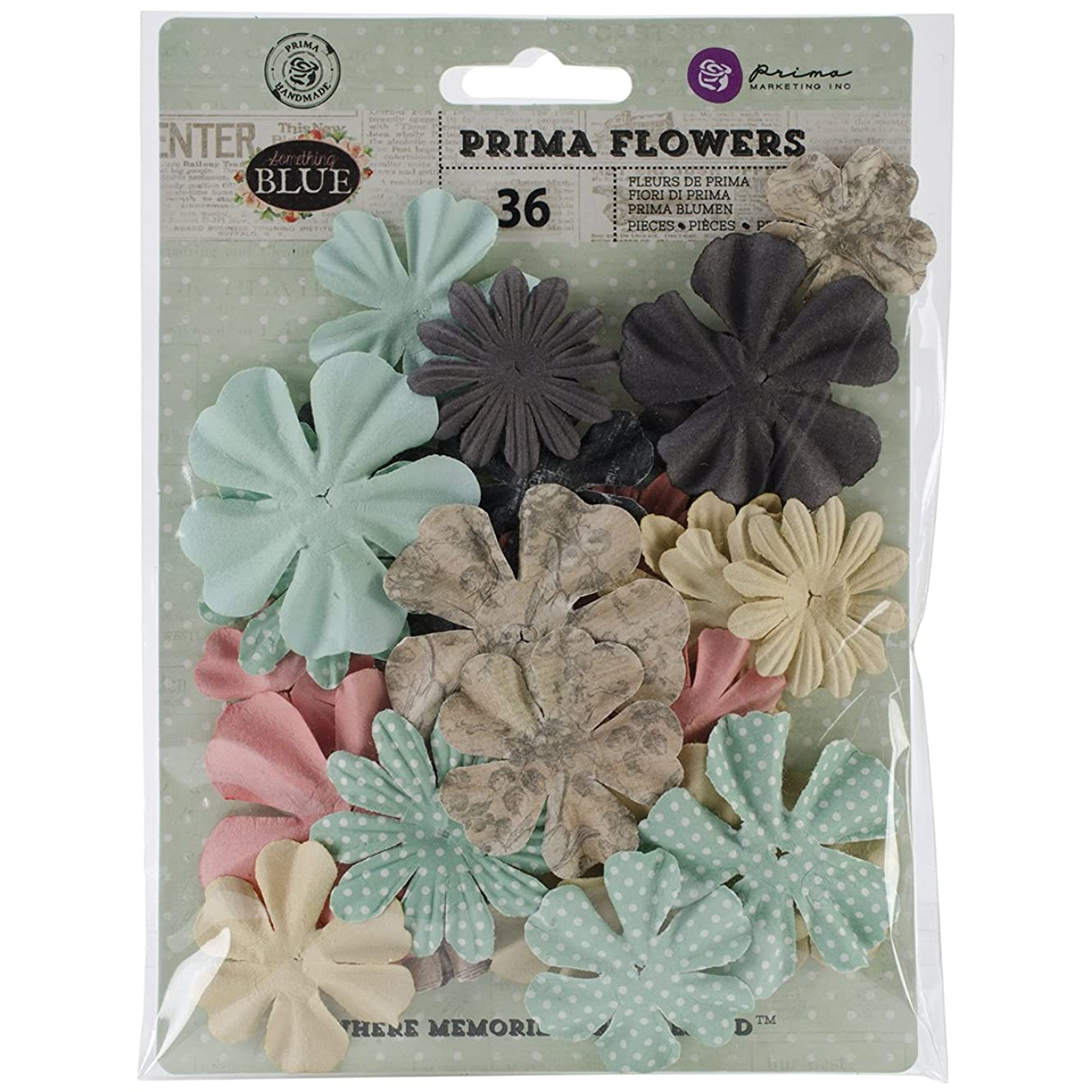 Prima Marketing Something Blue Decorative Flowers, 1.75 to 2-Inch, Paper Mister and Mistress, 24-Pack