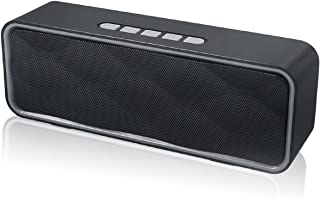 Totola Wireless Bluetooth Speaker with AUX/USB/TF Card Slot,Outdoor Portable Stereo Speaker with HD Audio,Enhanced Bass, Dual-Driver,Handsfree Calling, FM Radio Speaker for Travel,Party (Grey)