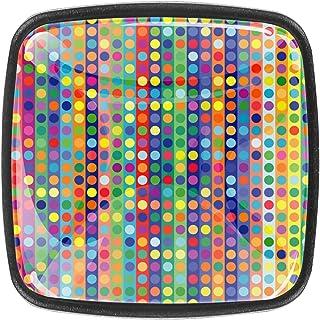 Paquet de 4 boutons d'armoire de cuisine, boutons pour tiroirs de commode Rayures vintage de points Tire les poignées de p...