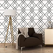 White and Black Trellis Modern Wallpaper, Removable and Waterproof for Home Design and Room Wallpaper Decoration, Super Large Size 0.53m x 10m / 393.7