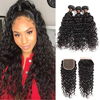 Ossilee Water Wave Bundles with Closure (14 16 18+12) Brazilian Human Hair 3 Bundles with Free Part Lace Closure Natural Wave Bundles with Closure Natural Color