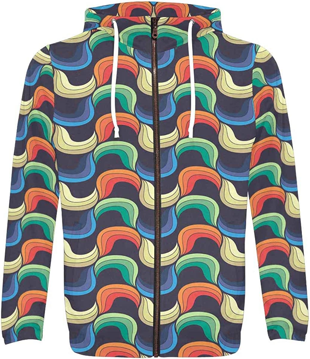InterestPrint Men's Polyester Long Baltimore Mall Al sold out. Sleeve Poc Zipper Hoodie with