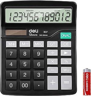 Calculator, Deli Standard Function Desktop Basic Calculators with 12 Digit Large LCD Display, Solar Battery Dual Power Off...