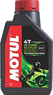 Motul 3100 4T Gold 20W-50 API SM Technosynthese High Performance Semi Synthetic Engine Oil for Bikes (1L)