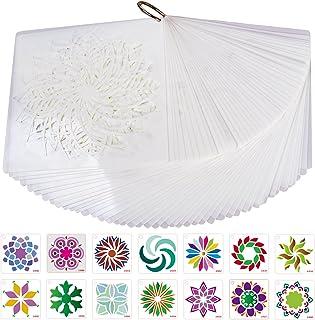 Pochoir Mandala de Peinture, Xiuyer 48pcs Motif Mandala Découpe Laser Réutilisables Flexible Mandala Pochoirs pour Mur Meu...