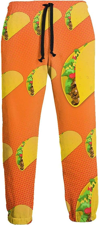 Mens Jogger Sweatpants Orange Tacos Lightweight Workout Athletic Joggers Pants Trousers