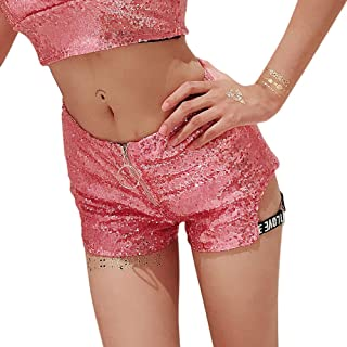 LUKEEXIN Women's Sexy Zipper Front Sequin Shinny Shorts Club Mini Shorts