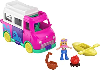 Pollyville Transforming Camper Van with Play Areas, Micro Doll, Accessories