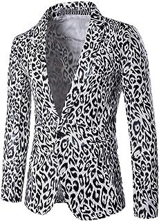 Mens Casual Blazer Slim Fit Suits Jacket Fashion Autumn Winter Leopard Print Long Sleeve Coat Outwear Top Blouse Goosun On...