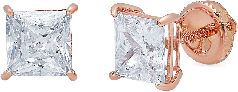 Clara Pucci 4.0 ct Brilliant Princess Cut Solitaire Genuine VVS1 Fine Natural Aquamarine Gemstone Pair of Stud Earrings Solid 18K Rose Gold Screw Back