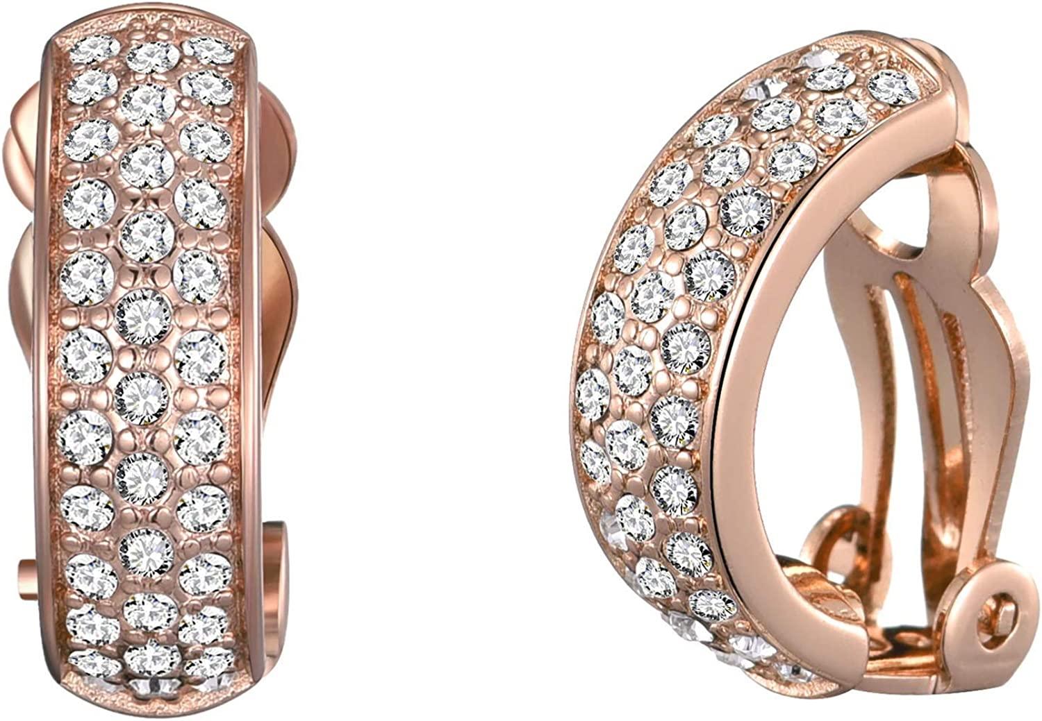 Rose Gold Pave Clip On Earrings Created with Austrian Crystals