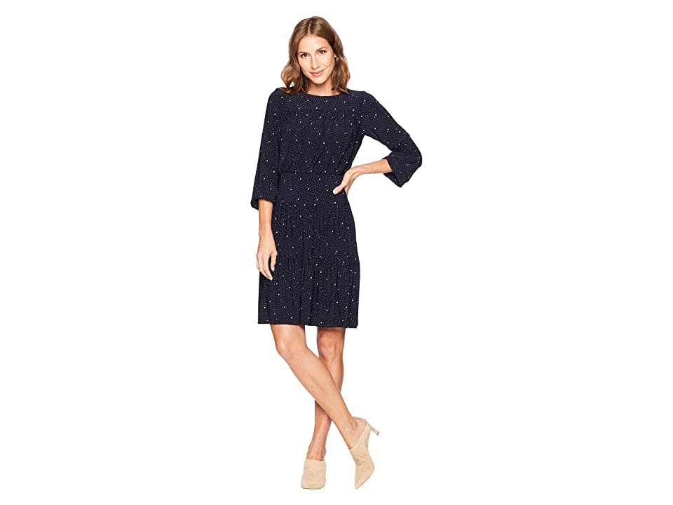 LAUREN Ralph Lauren Moon Dot Koral Long Sleeve Day Dress (Light House Navy/Brushstroke Tan) Women