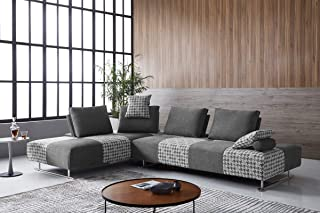 Limari Home Zemella Collection Modern Style Living Room Fabric Upholstered Modular Sectional Sofa Bed with Movable Backrests & Armrests, Grey & Houndstooth