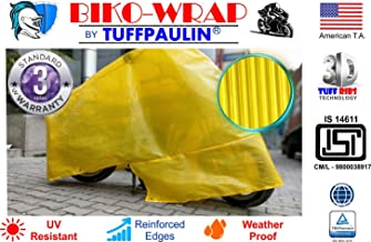 Tuffpaulin Tarpaulin Automobile Covers Biko-Wrap Waterproof Tarpaulin Universal Bike Cover (Yellow)