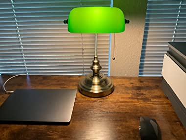 Newrays Banker Lamp Green Glass with Pull Chain Switch Plug in Fixture,Satin Brass Finish