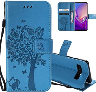 HMTECHUS Samsung Galaxy S10 case Elegant Embossing cat Tree Handmade Magnetic Flip PU Leather Stand Card Holders Shockproof Protection Cover for Samsung Galaxy S10 Wishing Tree Blue KT