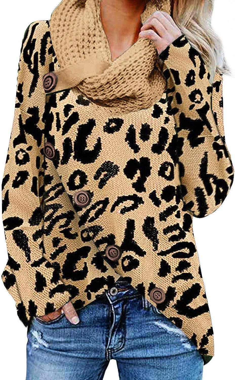 Autumn Women Cowl Neck Asymmetric Top Split Hem Leopard Print Baggy Blouse Shirt