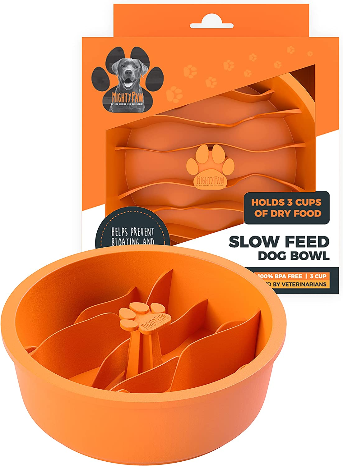 Mighty Paw Slow Feed Dog Bowl Insert   Interactive Puzzle Maze Feeder for Fast Eaters. Prevents Gulping and Vomiting. Holds 3 Cups of Food Pets. Dishwasher-Safe BPA-Free Silicone