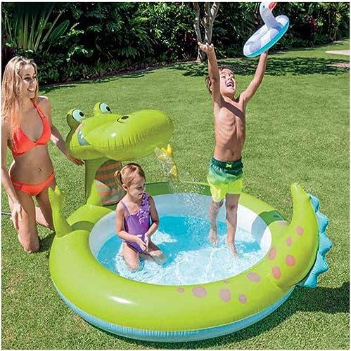 Aufblasbare Krokodil-Kinderplanschbecken K en Wasser Sprühen, 198X160X91CM, Kinder-Ball-Pool-Familienpool Rundes Planschbecken 170L